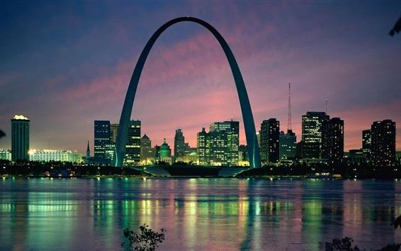 Fond d'écran Passerelle, voûte, ville de Saint Louis, Etats-Unis, bâtiments, rivière, crépuscule