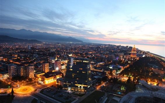 Fond d'écran Géorgie, ville, bâtiments, nuit, lumières