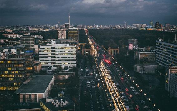 Papéis de Parede Alemanha, Berlim, cidade, centro, crepúsculo, edifícios, tv, torre, estrada ...