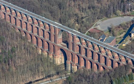 Fond d'écran Allemagne, Saxe, route, pont, arbres