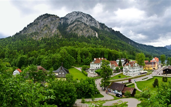 Wallpaper Germany, Schwangau, town, mountains, forest, trees