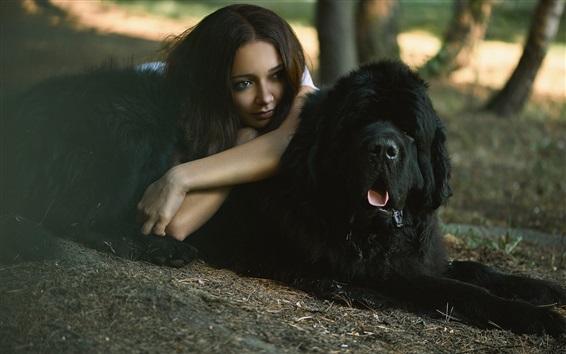 Wallpaper Girl and black dog