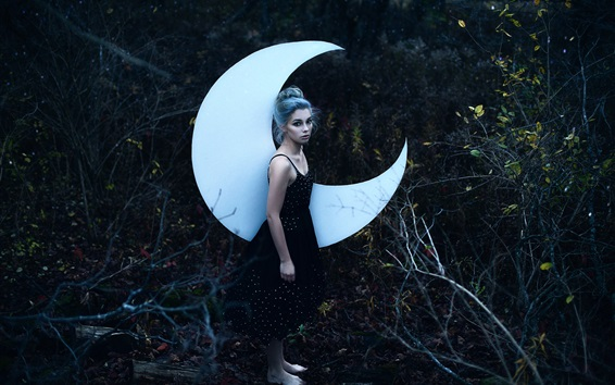 Wallpaper Girl and moon