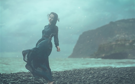 Wallpaper Girl dream at coast, stones, wind, rain