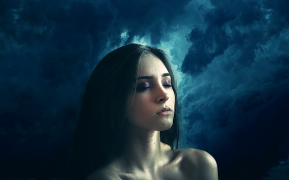 Hintergrundbilder Mädchen im Traum, Sturm