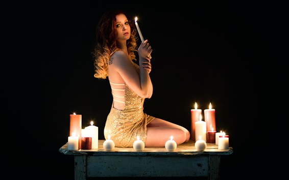 Wallpaper Girl sit, candles, flame, black background
