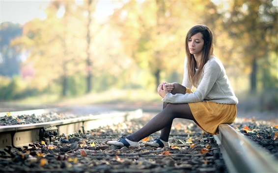 Wallpaper Girl sit on railroad, autumn, bokeh