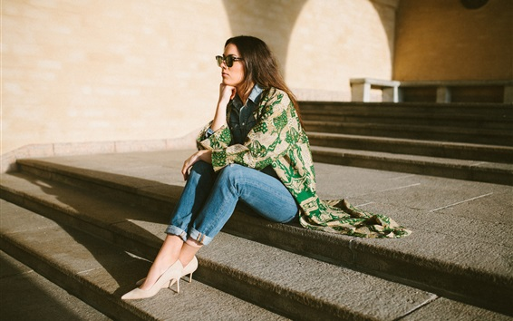 Wallpaper Girl sitting on steps, sunglasses