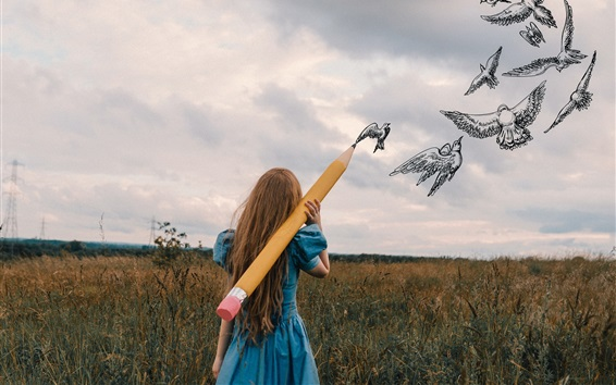 Wallpaper Girl use big pencil to drawing birds, creative pictures