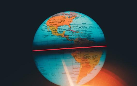 壁紙 地球地図、球、バックライト