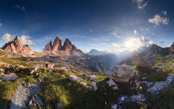 Fond d'écran Gorge, montagnes, nuages, soleil, paysage nature