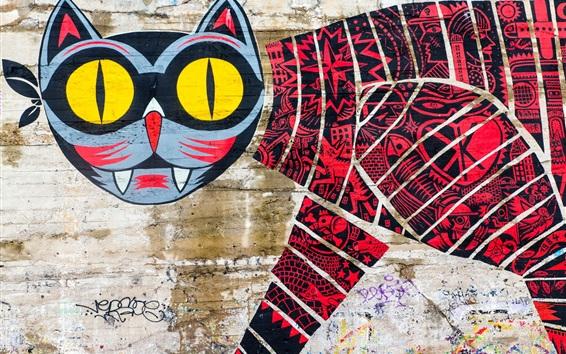 Fond d'écran Graffiti, mur, chat, créatif