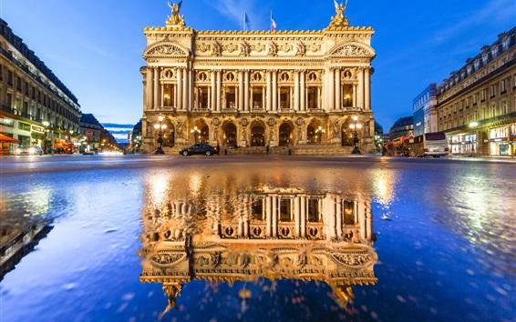 Wallpaper Grand Opera, France, Paris, water reflection, city, night, lights