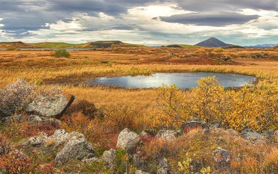 Обои Трава, кусты, облака, горы, озеро, трава, осень