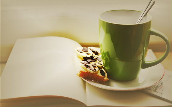 Wallpaper Green cup, drinks, chocolate sandwich, book