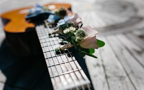 배경 화면 기타 및 꽃, 음악 테마
