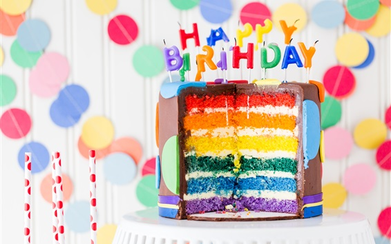 Papéis de Parede Feliz aniversário, bolo de chocolate, velas, camadas coloridas