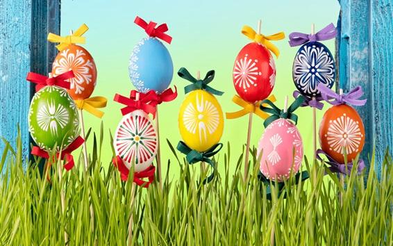 Wallpaper Happy Easter, flowers, eggs, grass, spring