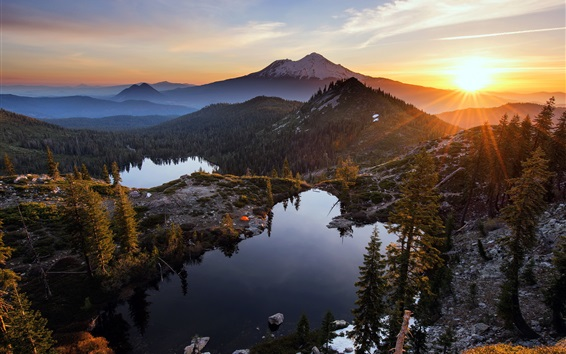 Wallpaper Heart Lake, mountains, trees, sunset, clouds, USA