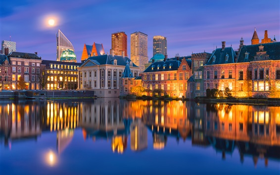 Wallpaper Holland, backlight, water reflection, city, evening, lights