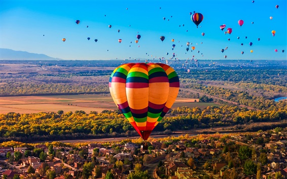 Wallpaper Hot air balloons, river, trees, houses, New Mexico, USA