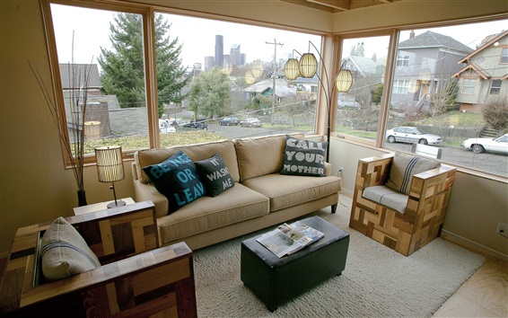 Обои Интерьер дома, диван, окно, лампа