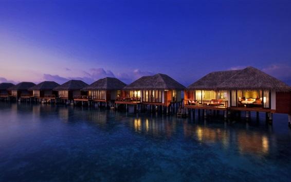 Wallpaper Houses on water top, warmth, night, lights, resort