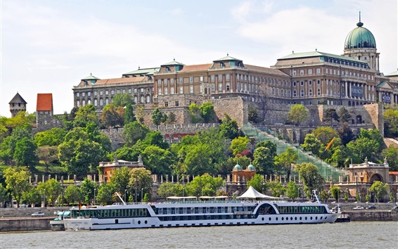 Wallpaper Hungary, city, boats, river, houses, trees
