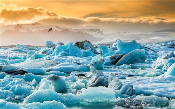 Wallpaper Iceland, Jokulsarlon, glacier, blue ice, clouds