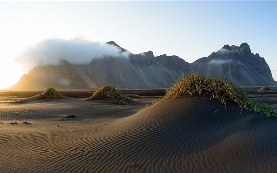 Wallpaper Iceland, Vestrahorn, sands, mountain, clouds