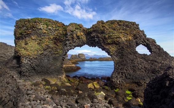 Wallpaper Iceland, arch, coast, stones