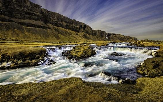 Wallpaper Iceland, river, stream, mountain, dusk