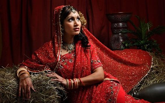 Wallpaper Indian girl, red dress, hay