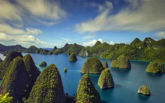 Обои Индонезия, острова, тропики, море, деревья, облака
