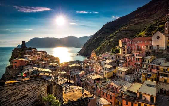 Papéis de Parede Itália, Cinque Terre, Vernazza, Mar da Ligúria, cidade, casas