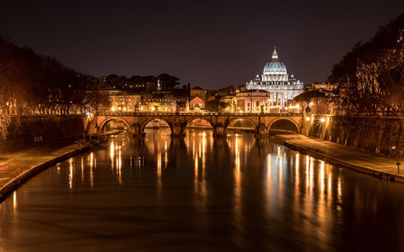 Wallpaper Italy, Rome, bridge, cathedral, river, lights