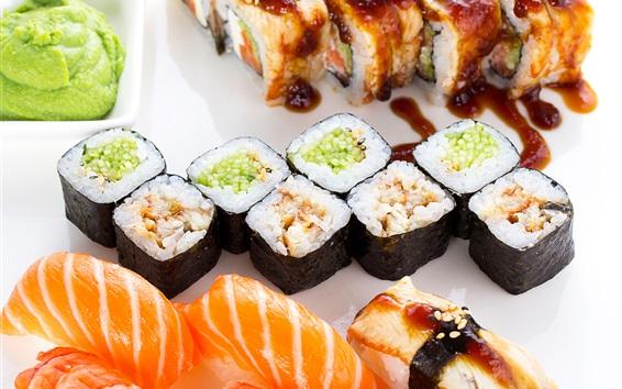 Fondos de pantalla Cocina japonesa, sushi, rollos de arroz