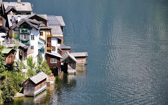 壁紙 湖、住宅、町、水