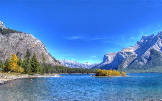 배경 화면 호수, 산, 나무, 섬, 푸른 하늘