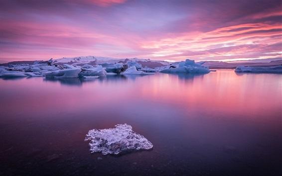 Papéis de Parede Lago, inverno, neve, nuvens, crepúsculo