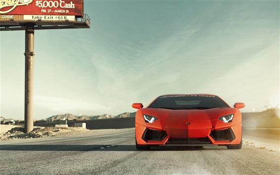 Wallpaper Lamborghini Aventador LP700-4 orange car front view, road