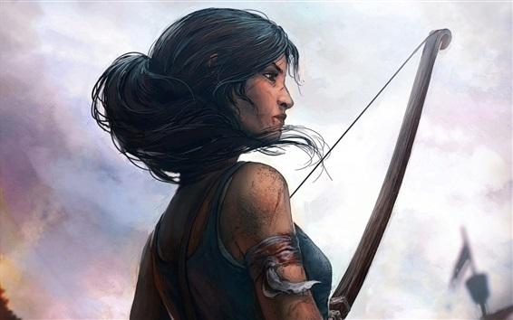 Wallpaper Lara Croft, Tomb Raider, bow, art drawing