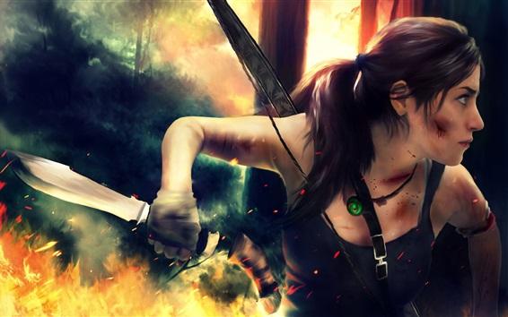 Wallpaper Lara Croft use knife, Tomb Raider games