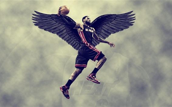 Fondos de pantalla Lebron James, baloncesto, alas negras, diseño creativo