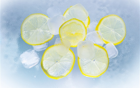Wallpaper Lemon cut slice, ice, water