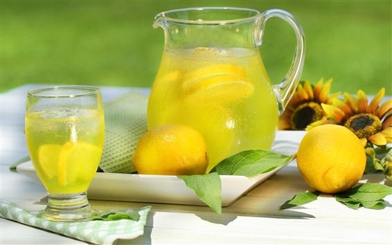 Wallpaper Lemon drinks, bottle, glass cup