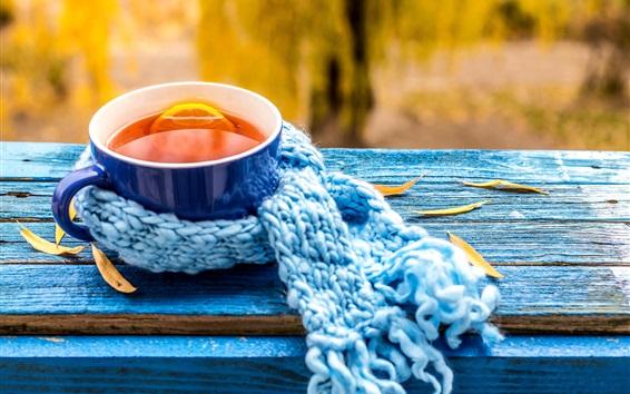 Fond d'écran Thé au citron, tasse bleue, écharpe