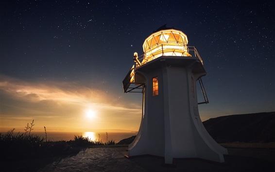 Wallpaper Lighthouse, light, sunset, sea