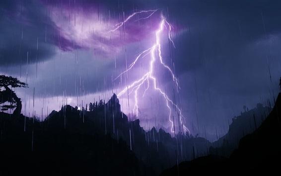 Wallpaper Lightning, mountains, silhouette, rain