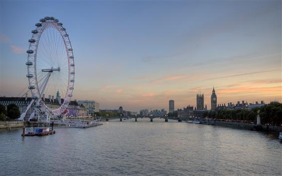 Fond d'écran Londres, la Tamise, la roue, le pont, le crépuscule